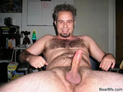 Naked dudes with hairy chest showing off their fat cocks